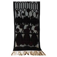 Floral Black & Deep Red Voided Cut Velvet Silk Shawl with Fringe