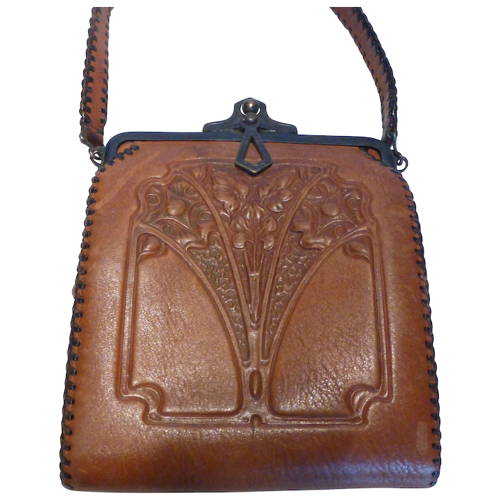 1920's Arts & Crafts Embossed Leather Purse