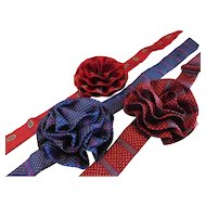 Vintage 1980s Ladies Silk Rosette Bowtie Set of 3