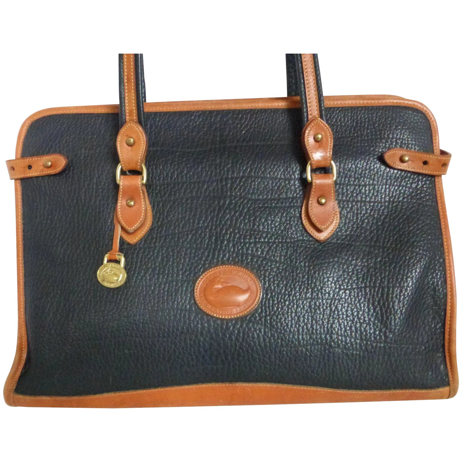 new high quality new varieties search for authentic Vintage Dooney & Bourke Large Briefcase Satchel Tote Bag Black & British Tan