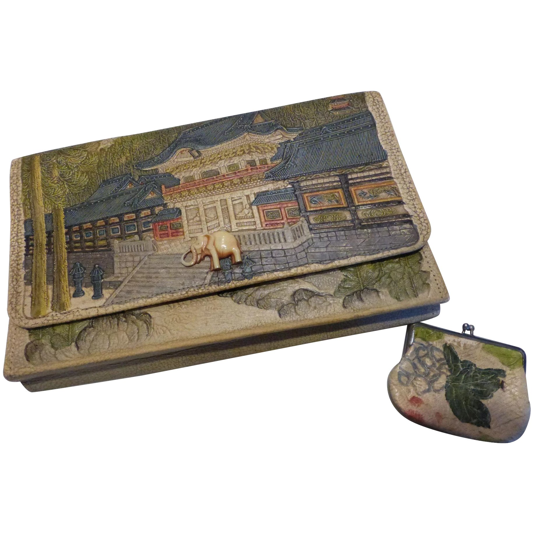 Vintage 1920/'s Japanese Aloha Hawaii Painted Embossed Leather Like Clutch With Celluloid Elephant...