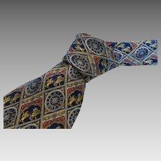 Vintage Museum Artifacts Silk Necktie