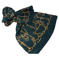 Vintage Echo Silk Scarf Equestrian Motif