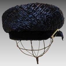 Mr. John Toque Hat 1960's Navy Blue Woven Straw New York - Paris