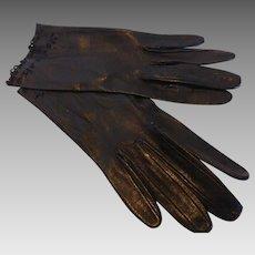 Vintage Black Kidskin Leather Gloves Cutwork Size 6 MINT