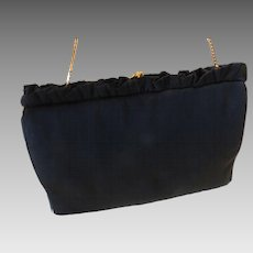 MM Morris Moskowitz Peau De Faille Black Gold Tone Evening Bag Clutch Purse