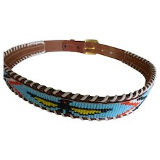 Vintage Hand Beaded Tooled Leather Souvenir Belt Thunderbird Pattern