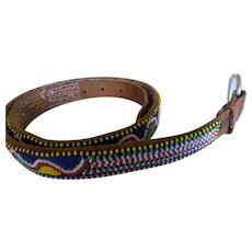 Vintage Hand Beaded Leather Belt