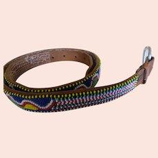 Vintage Hand Beaded Leather Belt