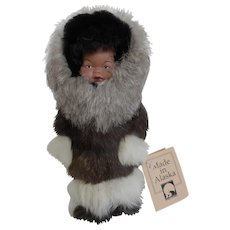 Vintage Memeluck Alaskan Eskimo Fur Doll w Hang Tag
