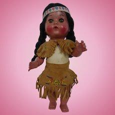 Vintage Native American Indian Girl Doll in Beaded Deer Skin Clothes