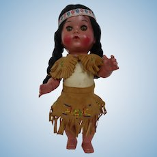 Vintage Native American Indian Girl Doll in Beaded Deer Skin Clothes