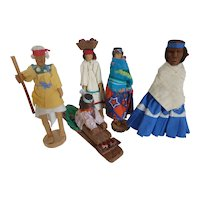Primitive Native American Hand Carved Wood Doll Figures Set of 5