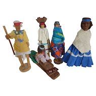 Primitive Native American Hand Carved Wood Doll Figures Set of 5