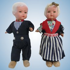 """Vintage Dutch Dolls Composition with Original Clothes 8.5"""" Made in Holland"""