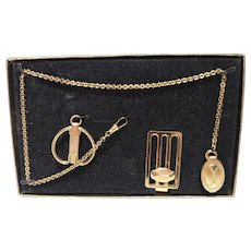 Men's Jewelry Set - Pocket Watch Fob & Chain, Money Clip & Key Chain - Original Box