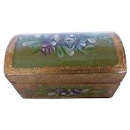 Italian Florentine Keepsake Box Gold Gilt & Hand Painted Gesso On Wood