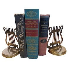 Vintage Solid Brass Lyre Harp Musical Bookends Pair