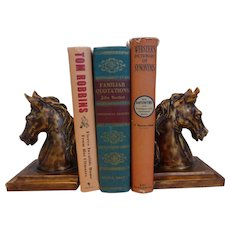 Vintage Horse Head Book Ends Cast Resin