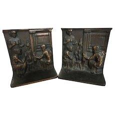 Vintage Cast Iron Copper Clad Bookends, Weavers w Wheel & Loom
