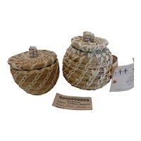 Papago Indian Tohono O'odham Split Stitch Baskets w Lids by Lena Ramon Set of 2