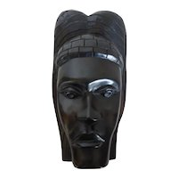 Vintage Ebony Hand Carved African Portrait Mask