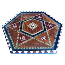 Spanish Inlaid Wood Marquetry Taracea Serving Tray Handcrafted Spain