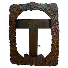 Vintage Signed Piazzini Picture Frame Cast Iron Floral Design Hecho en Mexico