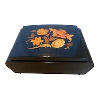 Vintage Italian Inlaid Wood Marquetry Music Box Jewelry Box