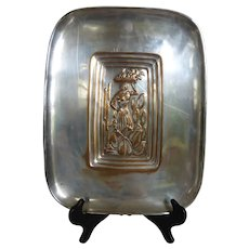 Silver Plated Copper Repousse Wall Plaque Woman with Fruit