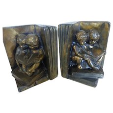 Bronze Washed Metal Bookends Open Books with Children Reading