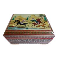Vintage Spanish Taracea Marquetry Mosaic Inlay Box w Moorish Hunt Scene