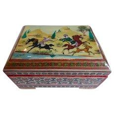 Vintage Spanish Taracea Marquetry Mosaic Inlay Box w Moorish Hunt Scene