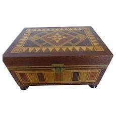 Vintage Spanish Taracea Marquetry Mosaic Wood Jewelry Box Keepsake Box