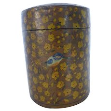 Papier Mache Cylinder Shaped Box Hand Painted Lacquer Kashmir India