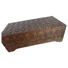 Hand Carved Wooden Box w Inlay Poland