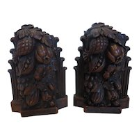 Mid-Century SYROCO Wood Harvest Cluster Bookends