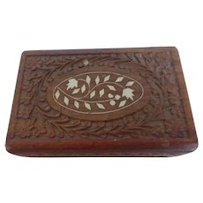 Hand Carved Wooden Box with Bone Inlay