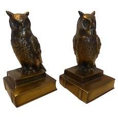 Vintage Brass Owl Bookends Pair