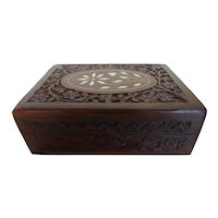 1960's Hand Carved Sheesham Wood Box with Bone Inlay