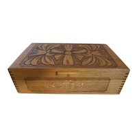 Hand Carved Oak Wood Jewelry Box Trinket Box