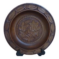 Ornate Carved Wood Bowl with Floral Design 13.5 Inches