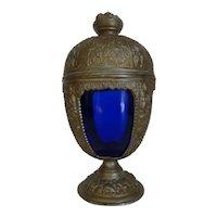 Antique PNCW Co Art Nouveau Cast Metal Cobalt Blue Glass Insert Chalice Compote