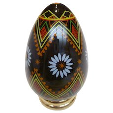 """Franklin Mint Porcelain Painted Egg """"UKRAINIAN"""" with Stand"""
