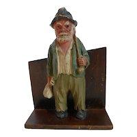 Folk Art Carved Wood Hobo Man Pencil Holder