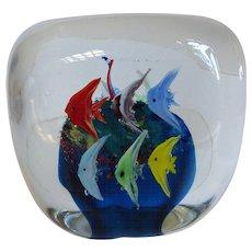 Mid-Century Murano Art Glass Fish Aquarium Block Paperweight Italy