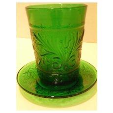 Vintage Hocking Forest Green Sandwich 8 oz Tumbler Glass w/ Liner Plate