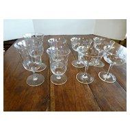 Vintage Cut Crystal Wine & Cocktail Stemware Set of 8