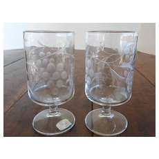 RARE Vintage Mountaineer Cut Glass Wine Goblets Grape Design PAIR