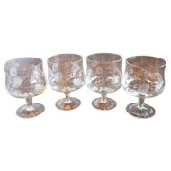 Arcadia Etched Crystal Wine Goblets Bulgaria